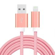SiGN USB-kabel med Lightningkontakt for iPhone & iPad Rosa/Nylonstoff, 2m