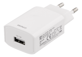 DELTACO Deltaco Vegglader til iPhone, iPad mm. 1xUSB-A, 2.4A