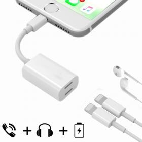 SiGN SiGN iPhone 7/7Plus Lightning Adapter for lading & earpods, 5V, 1A, 10cm
