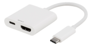 Deltaco USB-C til HDMI Adapter, UltraHD - Hvit