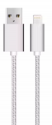 USB kabel med Lightning kontakt til iPhone & iPad Sølv/nylon, 1m