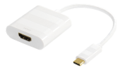 DELTACO USB 3.1 til HDMI adapter, USB type C han - HDMI, 4K, UltraHD, hvit