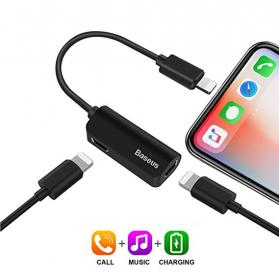Baseus iPhone 7/8/X Lightning Adapter for lading, musikk & samtaler - Svart