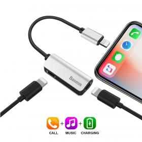 Baseus iPhone 7/8/X Lightning Adapter for lading, musikk & samtaler - Sølv