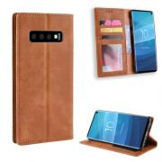 Vintage Style PU Lommeboketui for Samsung Galaxy S10 - Brun