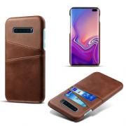 Crazy Horse Deksel med 2 Kortlommer for Samsung Galaxy S10 Plus - Brun