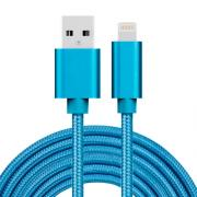 USB kabel Lightning kontakt til iPhone & iPad Blå/Nylon, 3m