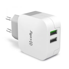 Celly CELLY TRAVEL CHARGER TURBO 2 USB 3.4A - Hvit