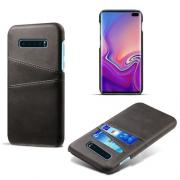 Crazy Horse Deksel med 2 Kortlommer for Samsung Galaxy S10 Plus - Svart