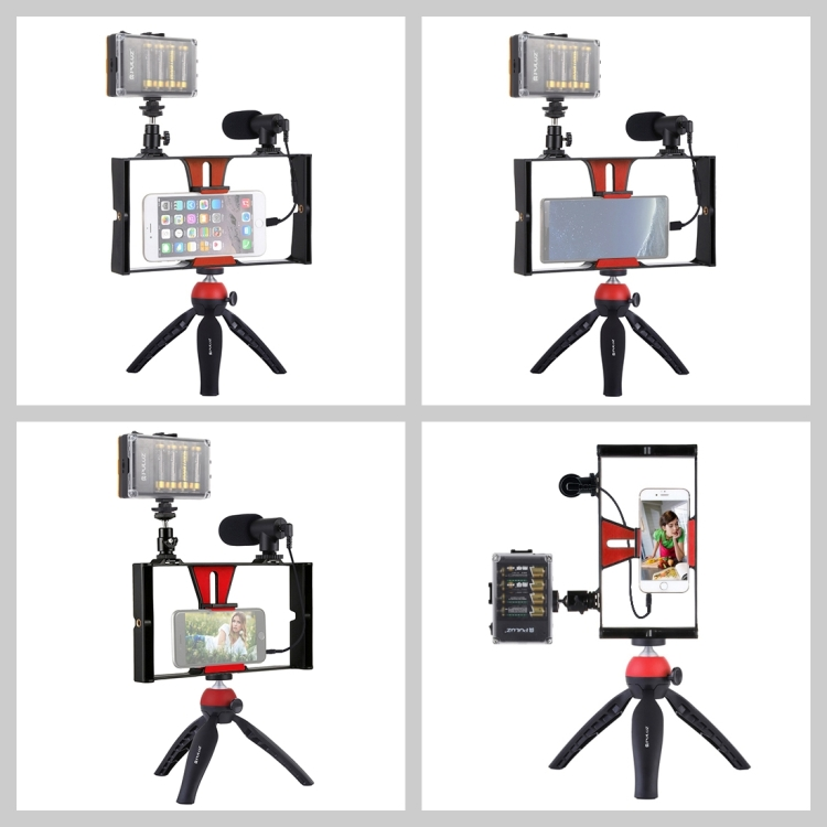 PULUZ 4 in 1 Tripod for Vlogger med Mikrofon og LED lampe