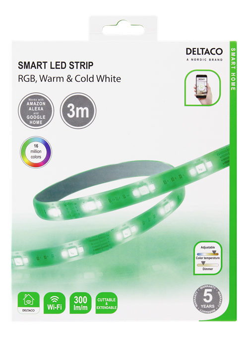 DELTACO Deltaco Smart Home LED-lysslynge RGB, WiFI Dimmbar, 3m - Hvit